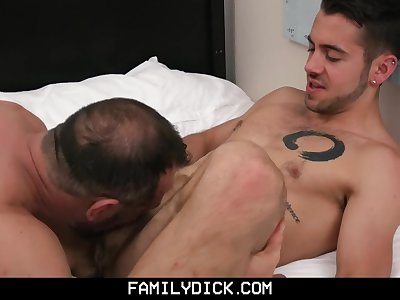 FamilyDick - Young stud taught how to fuck by his scruffy older daddy
