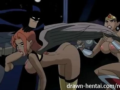 Justice League Hentai - Two chicks for Batman