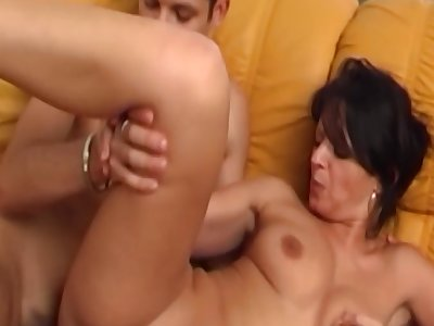 Brunette Sexy Stepmama Sucking and Fucking Young Cock