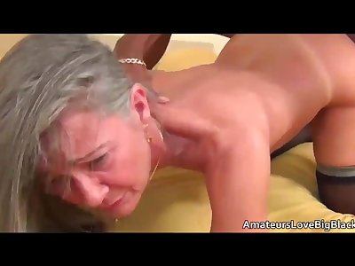 Grey haired granny enjoys bbc