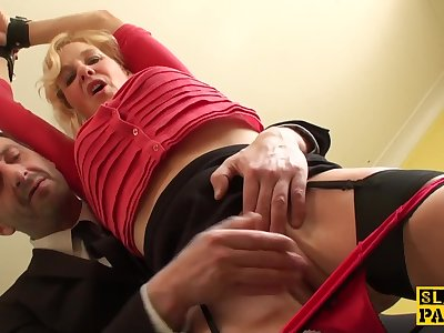 Mature uk slave gets cuffed and predominated over