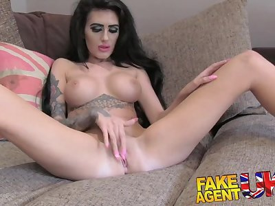 FakeAgentUK Petite UK babe attempts first time anal on the casting couch