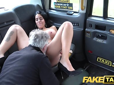 Fake Taxi Tattoos big juicy funbags and long sexy legs gets anal